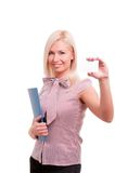 Businesswoman showing blank business card. Stock Images