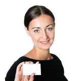 Businesswoman showing a blank business card Stock Images