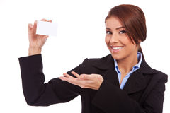 Businesswoman showing blank business card Stock Image