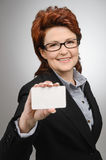 Businesswoman showing blank business card Royalty Free Stock Photo