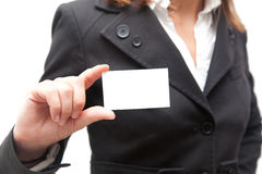 Businesswoman showing a blank card Royalty Free Stock Image