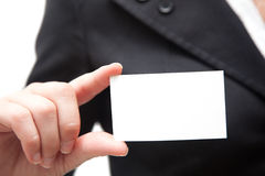 Businesswoman showing a blank card Royalty Free Stock Photography