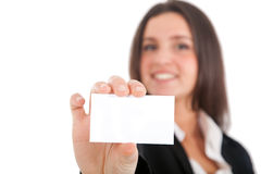 Businesswoman showing a blank card Stock Photos