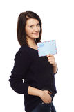 Businesswoman showing blank envelope Stock Images