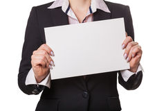Businesswoman showing blank Stock Photography
