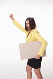 Businesswoman showing board or banner with copy Royalty Free Stock Image