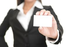 Businesswoman showing business card Stock Images