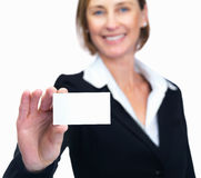 Businesswoman showing business card Stock Photos
