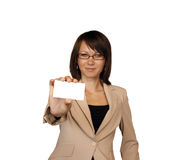 Businesswoman showing business-card Stock Photos