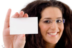 Businesswoman showing business card Royalty Free Stock Images