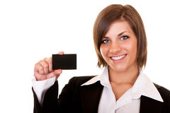 Businesswoman showing a businesscard Stock Photography