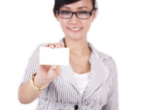 Businesswoman showing businesscard Stock Image
