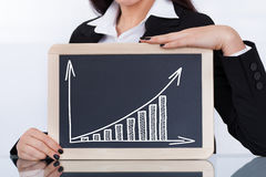 Businesswoman Showing Chalkboard With Chart Stock Photography