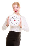 Businesswoman showing clock. Time for business. Stock Images