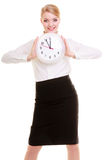Businesswoman showing clock. Time. Royalty Free Stock Photo