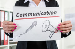 Businesswoman showing communication concept Royalty Free Stock Photo