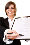 Businesswoman showing contract Stock Image