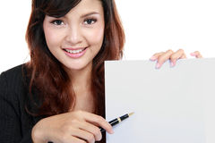 Businesswoman showing contract. Royalty Free Stock Photo