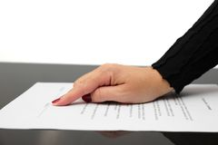 Businesswoman showing contract and where to sign Stock Images