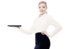 Businesswoman showing copy space. Advertisement. Royalty Free Stock Photography