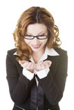 Businesswoman showing copy space on her palm Royalty Free Stock Photo