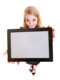 Businesswoman showing copy space on tablet touchpad Royalty Free Stock Photography