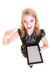 Businesswoman showing copy space on tablet touchpad Royalty Free Stock Photo