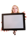 Businesswoman showing copy space on tablet touchpad Royalty Free Stock Images