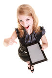Businesswoman showing copy space on tablet touchpad Stock Photography