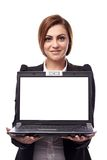 Businesswoman showing copyspace Stock Image