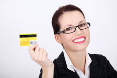 Businesswoman showing credit card. Stock Image