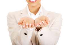 Businesswoman showing empty hands. Stock Photo
