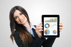 Financial reports. Businesswoman showing financial reports on a tablet computer Royalty Free Stock Photo