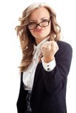 Businesswoman showing fist Stock Images
