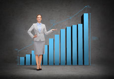 Businesswoman showing growing chart Stock Images