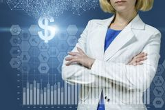 Businesswoman showing a growth financial graph . royalty free stock images