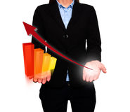 Businesswoman showing Growth graph and Arrow. Success Work. Time - Stock Image. Businesswoman holding futuristic Growth graph and arrwo going up in front of stock image