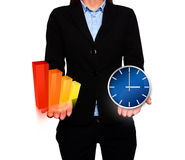 Businesswoman showing Growth graph and clock. Success Work. Time - Stock Image Royalty Free Stock Photo
