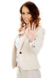 Businesswoman showing hand to camera. Royalty Free Stock Images