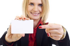 Businesswoman showing her business card Royalty Free Stock Image