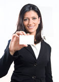 Businesswoman showing her business card Royalty Free Stock Images