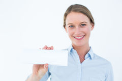 Businesswoman showing her business card Royalty Free Stock Photo