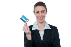 Businesswoman showing her cash card Stock Photos
