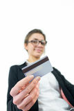 Businesswoman showing her credit card Royalty Free Stock Photography