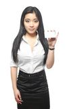 Businesswoman showing her name card Royalty Free Stock Photo