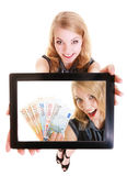 Businesswoman showing ipad tablet touchpad photo euro money Royalty Free Stock Photo