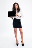 Businesswoman showing laptop computer screen Royalty Free Stock Photo