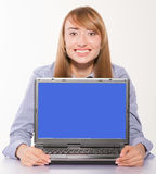 Businesswoman showing laptop with copyspace Royalty Free Stock Photo