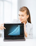 Businesswoman showing laptop with graph Stock Image