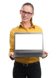 Businesswoman showing laptop screen with copy space. Isolated over white background stock photos